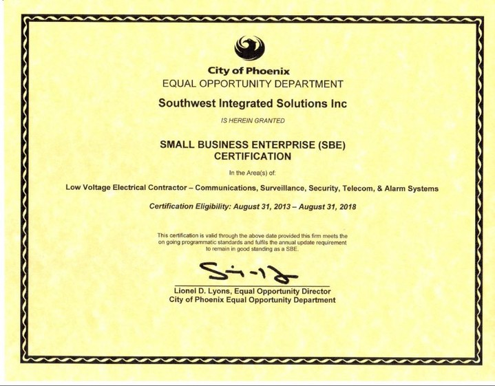 fire alarm phoenix az small business enterprise (SBE) Certification in the areas of Low Voltage Electrical Contractor: Communications, Surveillance, Security, Telecom & Alarm Systems